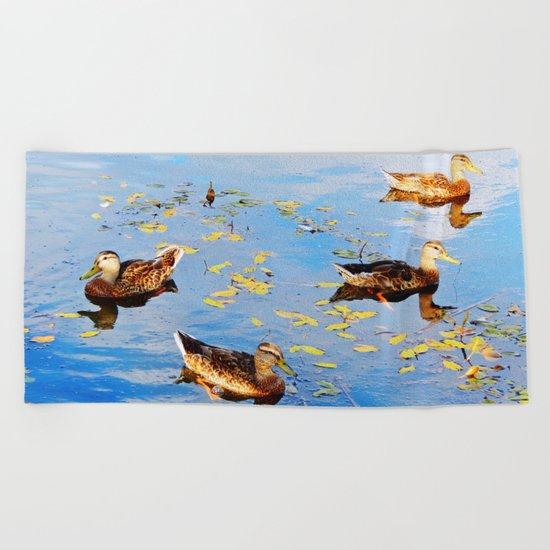 Ducks on a Pond Beach Towel