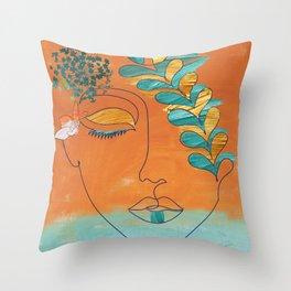 Monoline Woman Gilded Flowers Throw Pillow