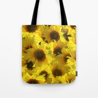 sunflowers Tote Bags featuring Sunflowers by LLL Creations
