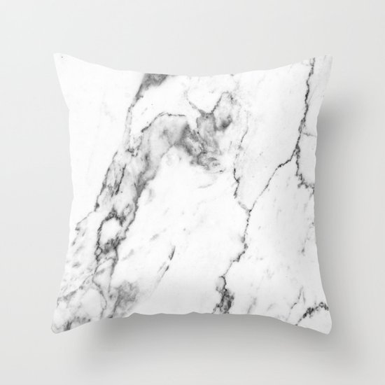 Throw Pillow White : White Marble I Throw Pillow by THE AESTATE Society6
