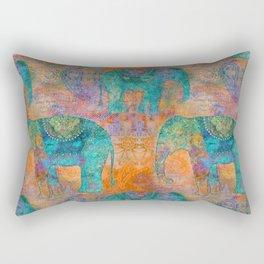 Elephant Pattern allover orange turquoise Rectangular Pillow