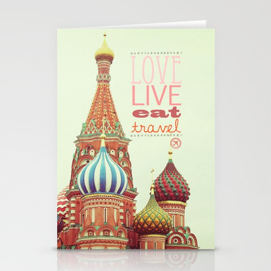 Love, Live, Eat, Travel Stationery Cards