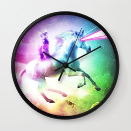 Space Cat Riding Unicorn - Laser, Tacos And Rainbow Wall Clock
