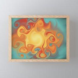 Fiery marble effect abstract pattern digital illustration  Framed Mini Art Print