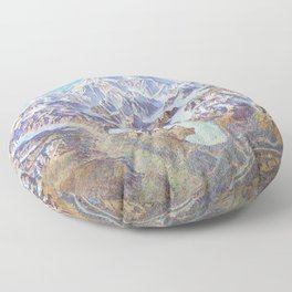 Heinrich Berann - Panoramic Painting of Denali National Park (1994) Floor Pillow