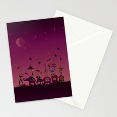 colorful circus carnival traveling in one row at night Stationery Cards