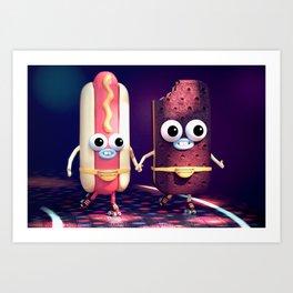 Hot Dog & Ice Cream Roller Disco Art Print