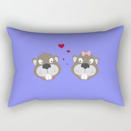 Beavers in love Rectangular Pillow
