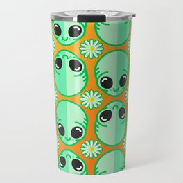 Happy Alien and Daisy Nineties Grunge Pattern Travel Mug