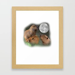 Three Moon Capybaras - Funny Cute Animal Parody Framed Art Print
