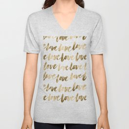 Gold Love Quote Pattern Typography Script 2 Unisex V-Neck