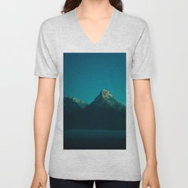 Magical Blue Mountains Star Night Sky Ombre Sunset Unisex V-Neck