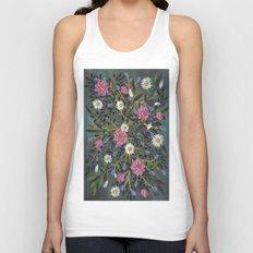 Teal Flowers Unisex Tank Top