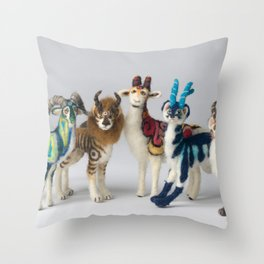 Fantastic Felted Beasts Throw Pillow