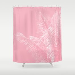 Millennial Pink illumination of Heart White Tropical Palm Hawaii Shower Curtain