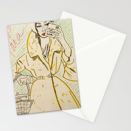 babe in overcoat Stationery Cards
