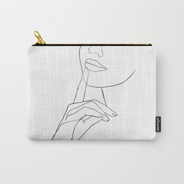 minimal line art - happy girl Carry-All Pouch
