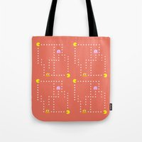 pacman Tote Bags featuring Pacman by CATHERINE DONOHUE