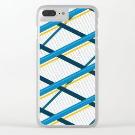 Deco Stripes Blue Clear iPhone Case