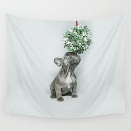 christmas little dog and mistletoe Wall Tapestry