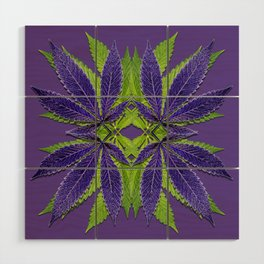 Marijuana Leaves Ultra Violet Pattern Wood Wall Art