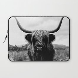 Scottish Highland Cattle Black and White Animal Laptop Sleeve