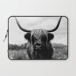 Scottish Highland Cattle Black and White Animal Laptop Sleeve