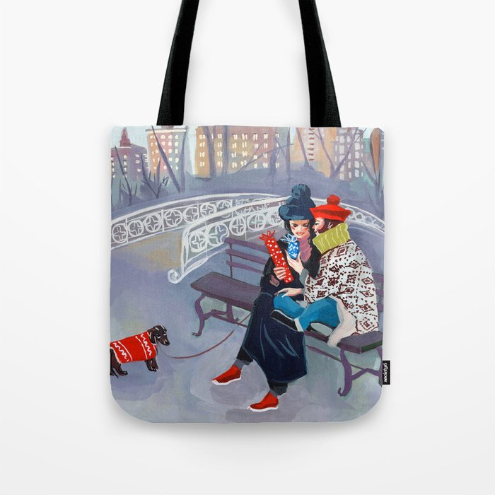 Exchanging Gifts in Central Park Tote Bag