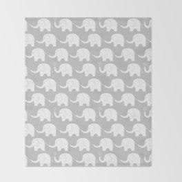 Elephant Parade on Grey Throw Blanket