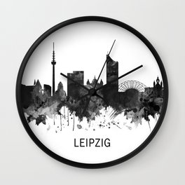 Leipzig Germany Skyline BW Wall Clock