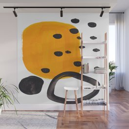Mid Century Abstract Black & Yellow Fun Pattern Funky Playful Juvenile Shapes Polka Dots Wall Mural
