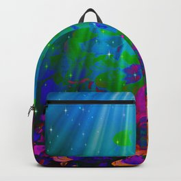 UNDER THE SEA Bold Colorful Abstract Acrylic Painting Mermaid Ocean Waves Splash Water Rainbow Ombre Backpack