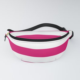 Bright Pink Peacock and White Wide Horizontal Cabana Tent Stripe Fanny Pack