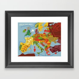 Abstract European Travel Map Framed Art Print