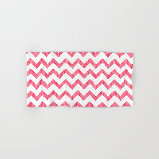 Chevron Red And White Hand & Bath Towel