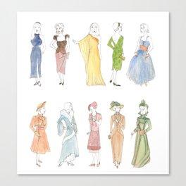 Vintage Dresses through Decades Canvas Print