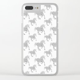White Horse Pattern Clear iPhone Case