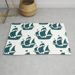 Tall Ship Justice in Teal Rug