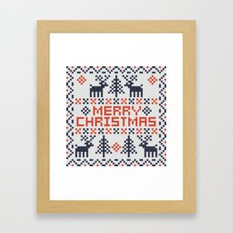 Pixel Merry Christmas - Deers and Trees - Red and Dark Blue Framed Art Print