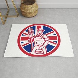 British Professional Cleaner Union Jack Flag Icon Rug