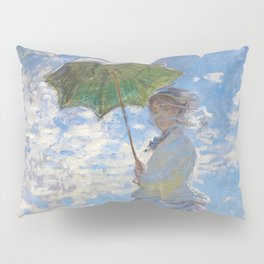 """Claude Monet, """" Woman with a Parasol - Madame Monet and Her Son """" Pillow Sham"""