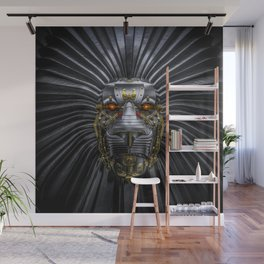 Hear Me Roar / 3D render of serious metallic robot lion Wall Mural