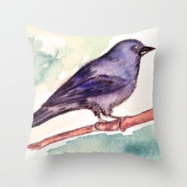 Pinzon azul Throw Pillow