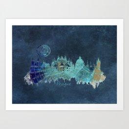 Prague skyline blue Art Print