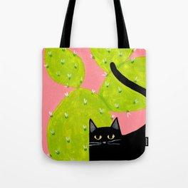 Black Cat with Cactus Tote Bag