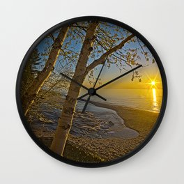 A Birch tree sunset Wall Clock