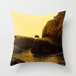 Abstract Minimalist Yellow Landscape Zen Rocks Water Nature Fine Art Photography Throw Pillow