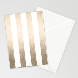 Simply Vertical Stripes in White Gold Sands Stationery Cards