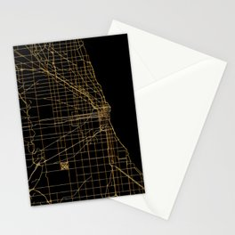 Black and gold Chicago map Stationery Cards