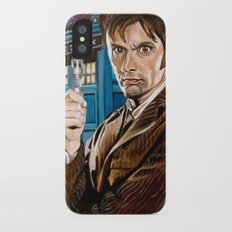 The Tenth Doctor and His TARDIS iPhone X Slim Case